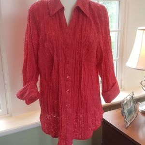 Coral Crinkle Top with Scattered Sequins